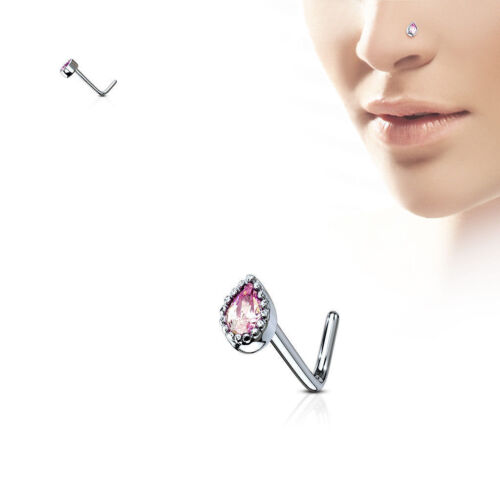 20G Nose Stud Rings L Bend Shape with Gem Set Tear Drop 316L Surgical Steel