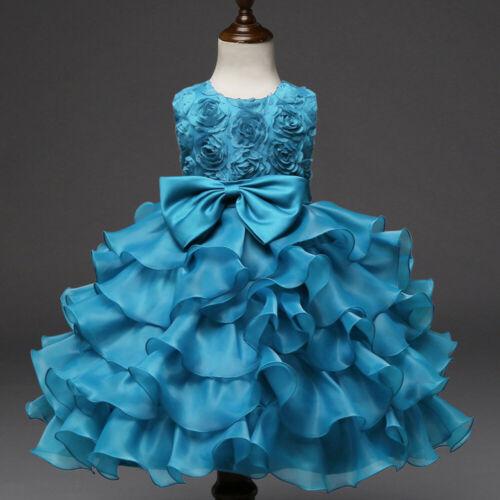 Kids Baby Girls Flower Birthday Wedding Bridesmaid Pageant Princess Formal Dress