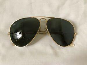 Vintage-B-amp-L-Bausch-amp-Lomb-Ray-Ban-Green-Aviator-Sunglasses-58mm-Sun-Glasses