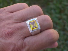 11X9 mm Solitaire November Yellow Solitaire Stone Men's Rhodium Ring Size 10