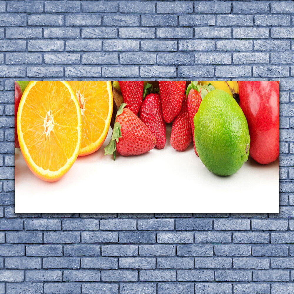 Glass print Wall art 140x70 Image Picture Fruit Kitchen