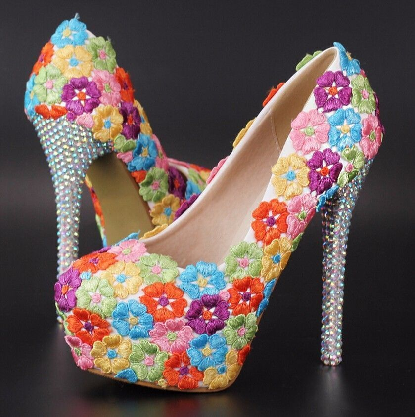 Women's Wedding Bridal Mary Jane Flower Embroidery High Heel shoes Platform Size