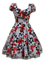 Womens Vintage 40's 50's Style Red Black Floral Netted Tea Dress New Size 8 - 18
