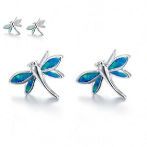 Stud-Opal-Earrings-White-Silver-Plated-Fire-Jewelry-Dragonfly-Women-Cute-Wedding