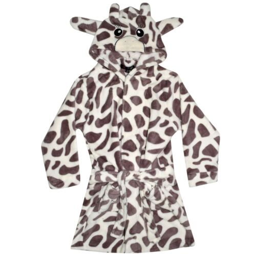 Kids Girls Boys 3D Animal Giraffe Bathrobe Fleece Dressing Gown Night Loungewear