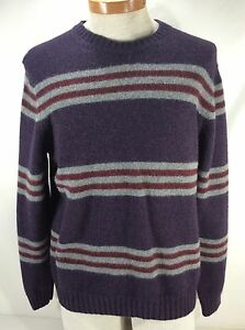 Brooks Brothers 100% Scottish Lambswool Crewneck Purple Striped ...