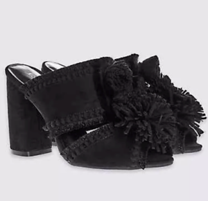 Ladies-Shoes-Black-M-amp-S-Faux-Suede-Mules-Insolia-UK-4-5-37-5-US-6-5-BNWT-Marks