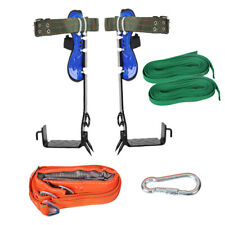 New Listing2 Gears Tree Climbing Spike Set Safety Belt Adjustable Lanyard Rope Rescue Belt