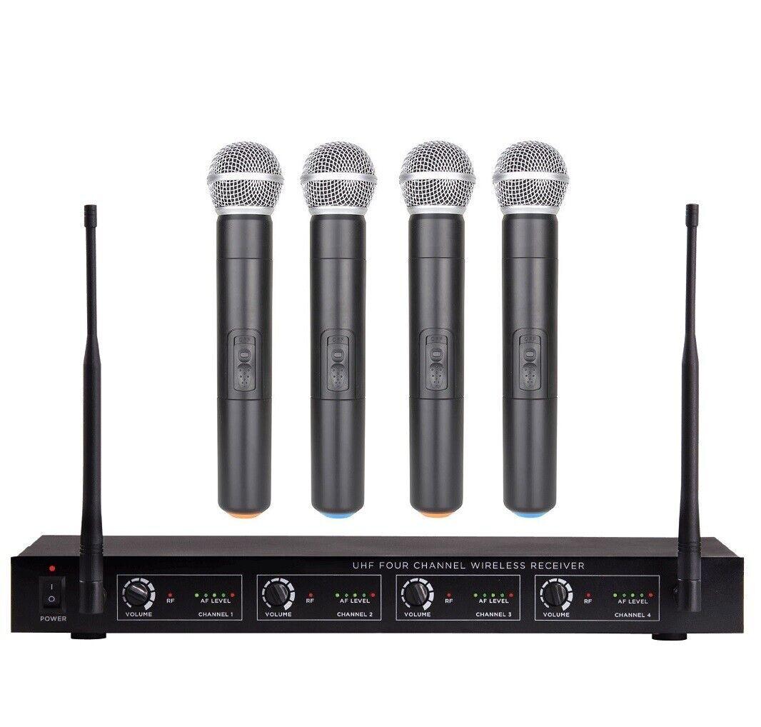 4 Channel Handheld UHF Karaoke Wireless Microphone System 4CH Church mic Set