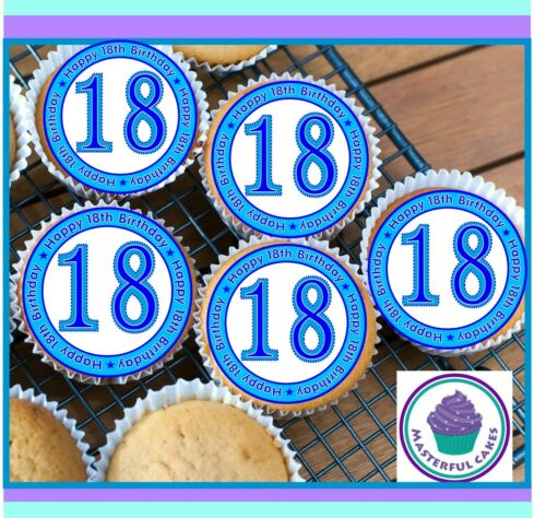 24 X 18TH BIRTHDAY DES1 EDIBLE CUPCAKE TOPPERS WAFER PAPER,ICING /& PRE-CUT WAFER