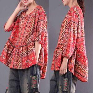 ZANZEA-Femme-Chemise-a-imprime-floral-Manche-Longue-Loisir-Loose-Shirt-Tops-Plus