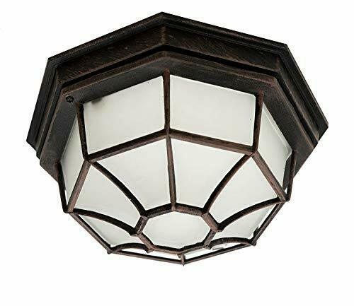 Outdoor Ceiling Light Fixture Flush Mount Porch Rust Metal Glass Frosted Lantern For Sale Online Ebay