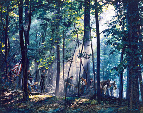 """/""""SACRED GROUND ON LITTLE ROUND TOP/""""  S//N Paper Giclée by John Paul Strain"""