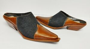 MATISSE-Mules-Shoes-Slip-On-Leather-Denim-Western-Brown-Blue-Brazil-Womens-8-5-M