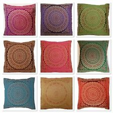 "Indian patchwork mandala sari ethnic silk Banarsi cushion covers mandala 16""x16"""
