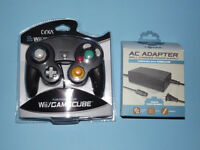 Black Nintendo Gamecube Controller With Ac Adapter