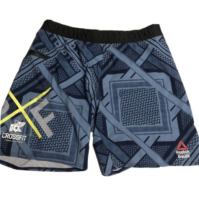 Men's Reebok CrossFit Training Lifting Bodybuilding Shorts Blue Navy Sz Medium