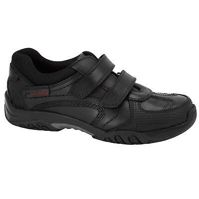 Boys Junior Hush Puppies Jezza Leather Touch Fasten School Shoes Infant//Junior