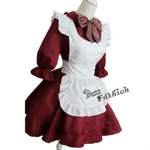 BANDTILECosplay Party Costume Ladies Lolita Princess Wine Red Maid Dress Fancy Clothing