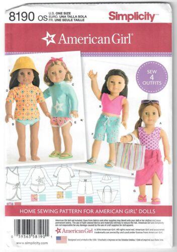 "18/"" American Girl Doll Sportswear Sewing Pattern 8190 Bathing Suit Top Shorts UC"