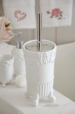 WC Garnitur Weiß Bürste Toilettenbürste Bad Badezimmer Landhaus ...