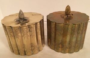 Two Vtg. Oval Trinket / Jewelry /Tea Boxes with Hinged Lids, Pineapple Finials