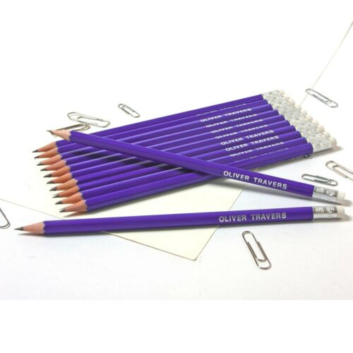 Block Pencil Case with 12 Colouring /& 12 matching Personalized Pencils Purple