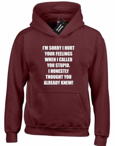 IM SORRY I HURT YOUR FEELINGS HOODY HOODIE CALLED YOU STUPID NOVELTY PRESENT NEW