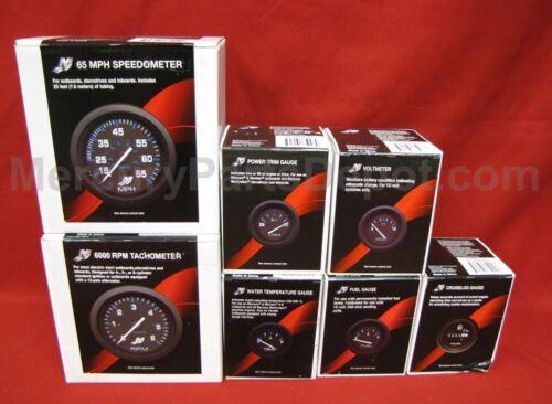 6K Tach hours trim,temp,volt,fuel Mercury Analog Gauge Set Blk- Speedo