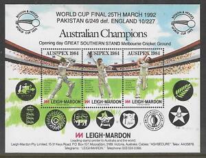 AUSTRALIA-AUSIPEX-1984-EXHIBITION-CRICKET-SHEET-Overprinted-1992-WORLD-CUP-FINAL