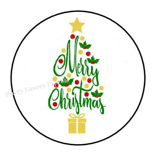 """48 MERRY CHRISTMAS TREE ENVELOPE SEALS LABELS STICKERS 1.2/"""" ROUND"""