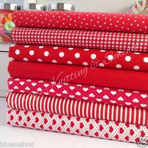RED Fat Quarter Bundle 100/% cotton craft fabric CHEVRON STAR SPOT STRIPE