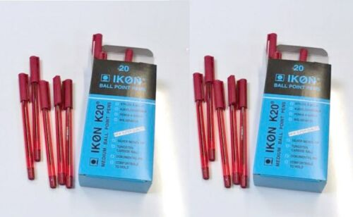 Box of 40 x Ikon K20 Med Ball Point Pens Red Q6KZ#