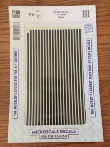 1//8 wide Black Microscale Decal #PS-2-1//8 Parallel Stripes