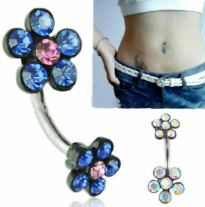 Crystal-Flower-Navel-Belly-Dance-Dangle-Button-Ring-Bar-Body-Piercing-Jewelry
