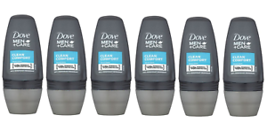 6 X Dove Roll On Men + Care Clean Comfort 50ml 48H Anti Perspirant 1/4 Moist