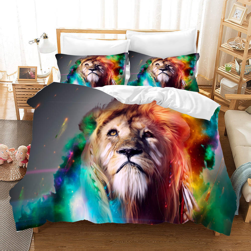 Blau Fur Lions 3D Printing Duvet Quilt Doona Covers Pillow Case Bedding Sets