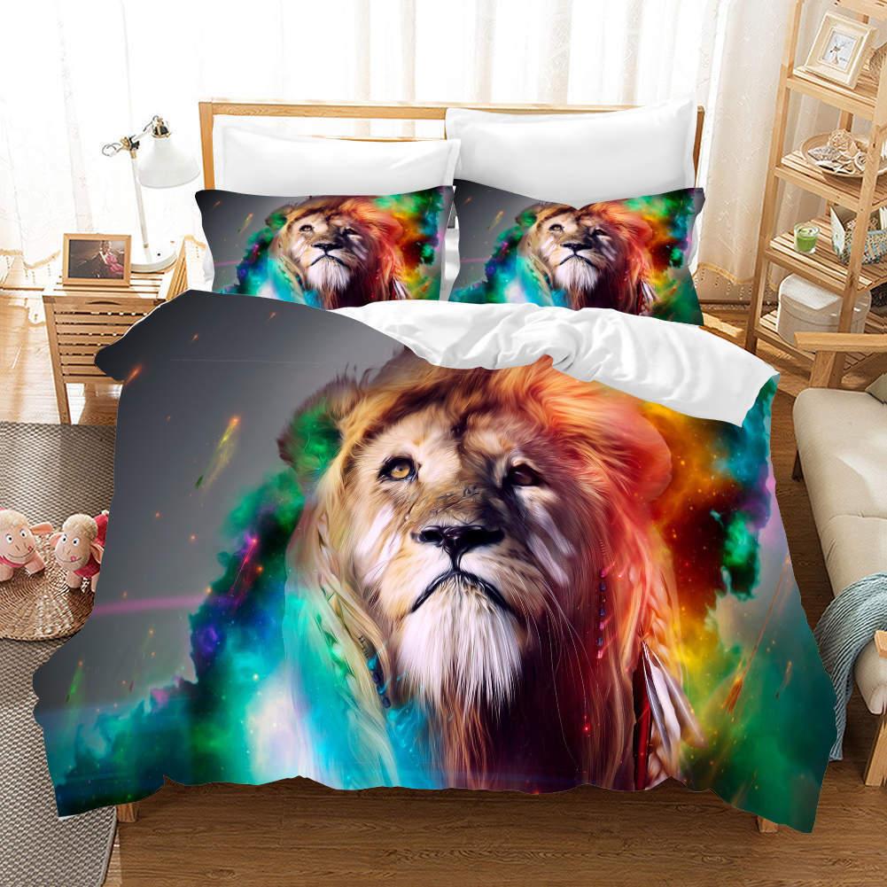 bleu Fur Lions 3D impression Duvet Quilt Doona Covers PilFaible Case Bedding Sets