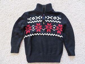 Chaps Toddler Boys Black 14 Zip Long Sleeve Sweater Size 44t Euc