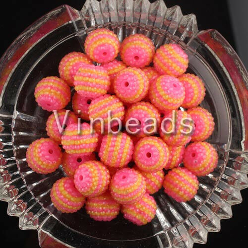 50Pcs 22mm Clear Striped Rhinestone Gum Ball Chunky Beads for Pendant Necklace