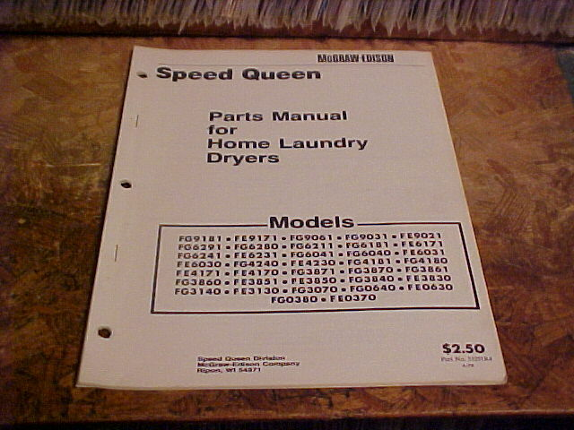 Speed Queen Parts 1978 Manual For Home Dryers F Series