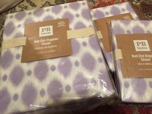 3pc-Pottery-Barn-PB-Teen-Ikat-Dot-Duvet-Cover-STD-Shams-full-queen-f-q-Lavender