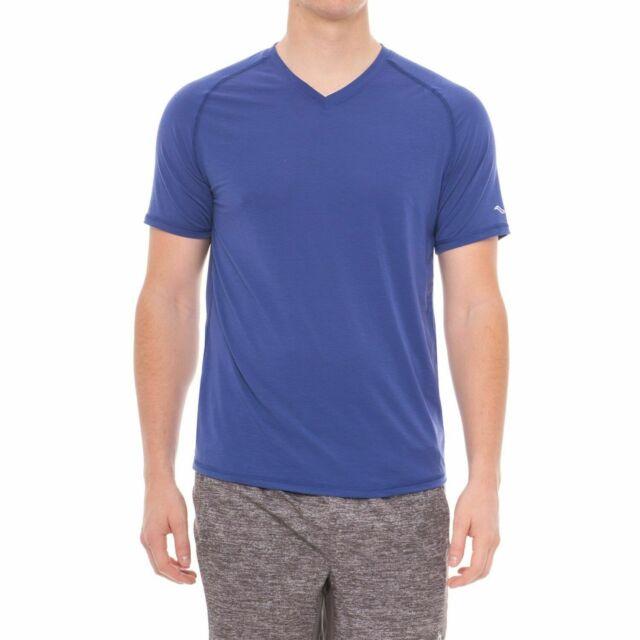 Saucony Freedom Tencel Mens V neck Short Sleeve Stretch Shirt Size XL