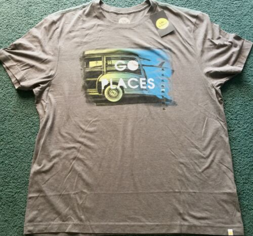 NWT Mens XL Life Is Good Gray//Yellow//Blue GO PLACES Car Shirt XL $30