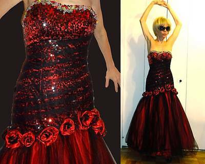 ALYCE BLACK LABEL CORSET MERMAID GOWN RED ROSES BLACK TULLE RHINESTONE SEQUIN 0