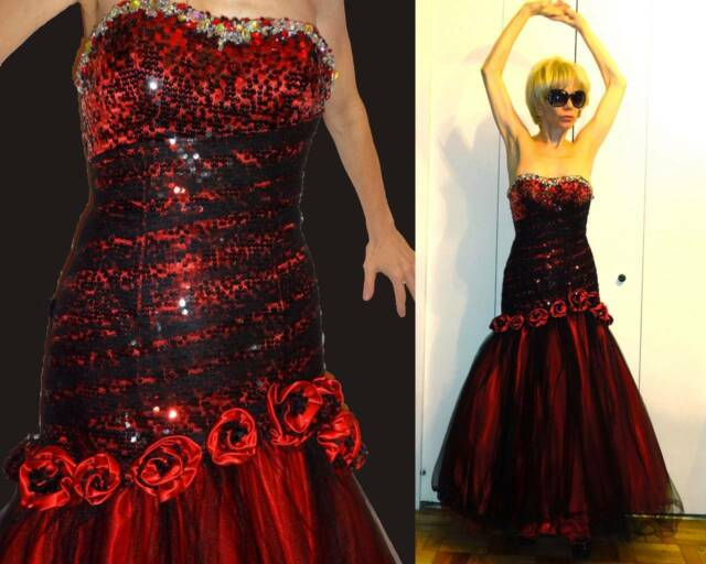 ALYCE BLACK LABEL CORSET MERMAID GOWN RED ROSES BLACK TULLE RHINESTONE SEQUIN 0