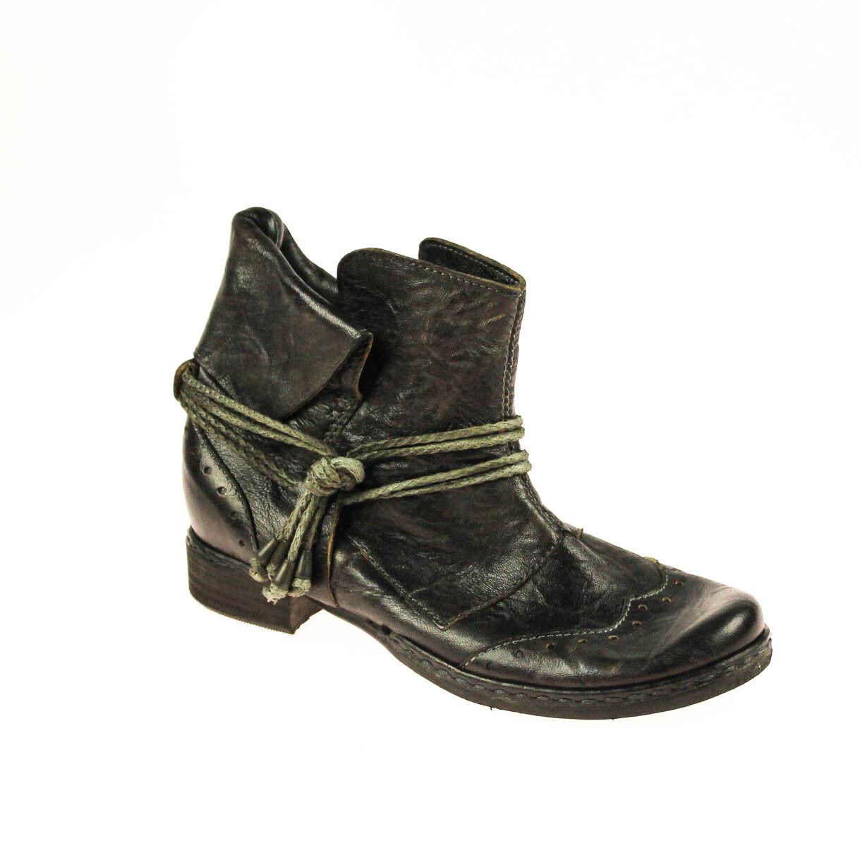 Encanto señora botín semi zapato de cuero marrón oscuro Taupe gris multiColor