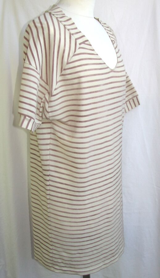 COTELAC COTELAC COTELAC - TUNIC DRESS M. SHORT STRIPES CREAM & OLD PINK T 1 = 38 - EX. CONDITION 8a0d05