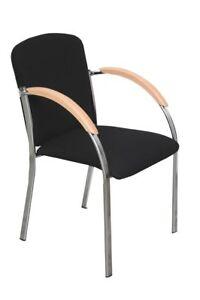 Stuhl-034-Violetta-I-034-Schwarzer-Stoff-Chrom-Besucherstuhl-Konferenzstuhl-Bueromoebel