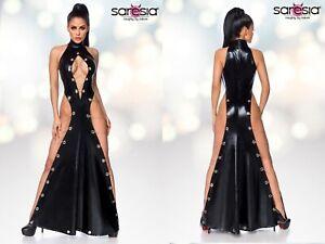 günstiger Preis klassischer Stil neue Sachen Details zu SARESIA WETLOOK KLEID maxikleid maxi lang beinschlitz schwarz  clubwear